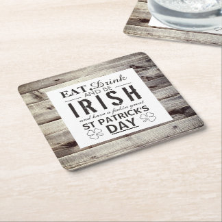 Vintage Irish Wood St Patrick's Day Square Paper Coaster