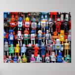 Vintage iron tin toy robot collection poster