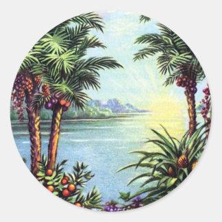 Vintage Island Round Sticker
