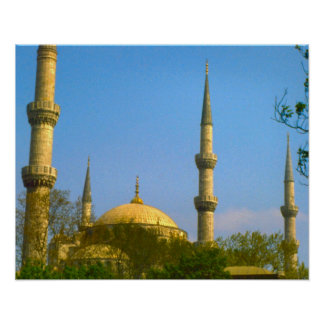 Vintage  Istanbul, Mosque with minarets Print