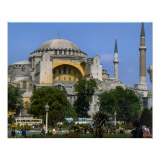 Vintage Istanbul Mosque with minarets Poster