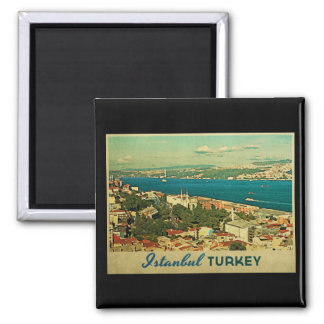 Vintage Istanbul Turkey Square Magnet