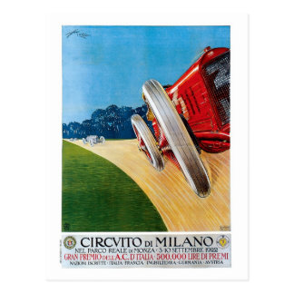 Vintage Italian 1920s Racing cars Grand Prix Postcard