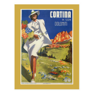 Vintage Italian Alps Cortina summer travel Postcard
