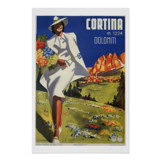 Vintage Italian Alps Cortina summer travel Poster