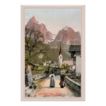 Vintage Italian Alps: Mountain village Poster