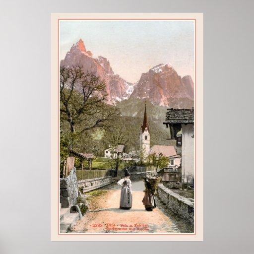 Vintage Italian Alps: Mountain village Print