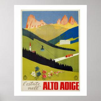 Vintage Italian Alps travel poster (South Tyrol)