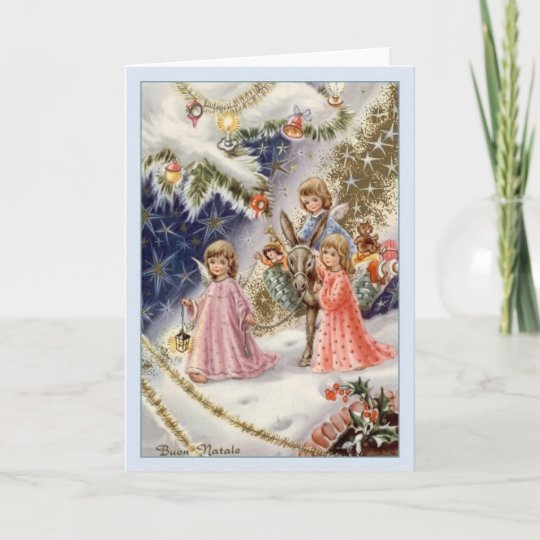 Immagini Vintage Natale.Buon Natale Christmas Holiday Greeting Italian Vintage Art Design Card Envelope Greeting Cards Invitations Home Garden