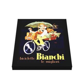 Vintage Italian Bianchi Bicycle Ad Canvas Print
