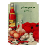 Vintage Italian Food, Tomato Onion Cooking Party 13 Cm X 18 Cm Invitation Card