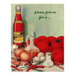 Vintage Italian Food, Tomato Onion Cooking Party Personalised Invites