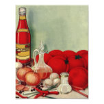 Vintage Italian Food Tomato Onions Peppers Catsup 4.25x5.5 Paper Invitation Card
