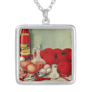 Vintage Italian Food Tomato Onions Peppers Catsup Square Pendant Necklace