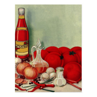 Vintage Italian Food Tomato Onions Peppers Catsup Postcard