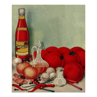 Vintage Italian Food Tomato Onions Peppers Catsup Poster