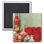 Vintage Italian Food Tomato Onions Peppers Catsup Square Magnet