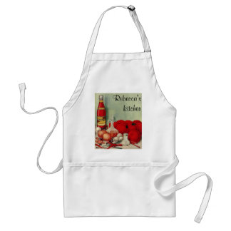 Vintage Italian Food Tomato Onions Peppers Catsup Standard Apron