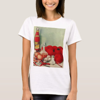 Vintage Italian Food Tomato Onions Peppers Catsup T-Shirt