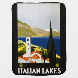 Vintage Italian Lakes Italy baby blanket