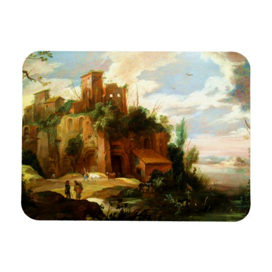Vintage Italian Landscape with Ruins Rectangular Photo Magnet