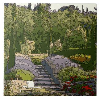 Vintage Italian Rose Garden Ceramic Tile