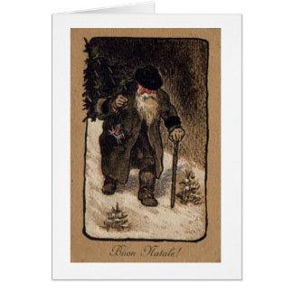 Vintage Italian Santa Christmas Card