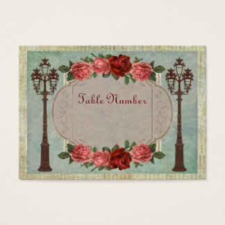 Vintage Italian Street Lamps And Roses Table Cards