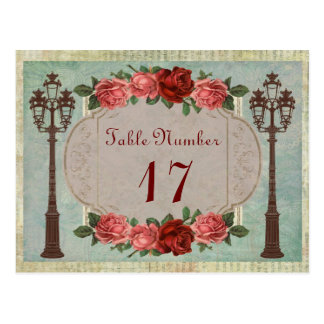 Vintage Italian Street Lamps And Roses Table Postcard