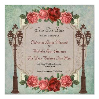 Vintage Italian Street Lamps & Roses Save The Date 13 Cm X 13 Cm Square Invitation Card