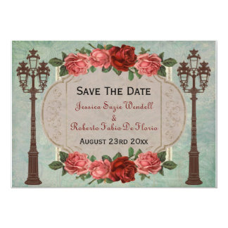 Vintage Italian Street Lamps & Roses Save The Date Card