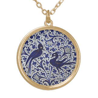 Vintage Italian-Style Blue-Gold Love-Birds Gold Plated Necklace