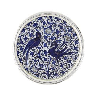 Vintage Italian-Style Blue-Gold Love-Birds Lapel Pin