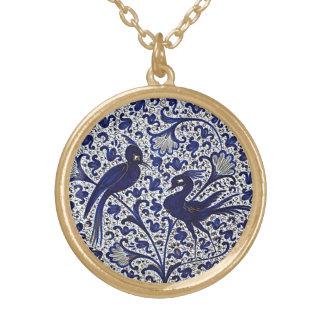 Vintage Italian-Style Blue-Gold Love-Birds Round Pendant Necklace