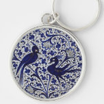 Vintage Italian-Style Blue-Gold Love-Birds Silver-Colored Round Key Ring