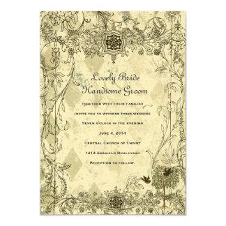 "Vintage Italian Verdigris Wedding Invitation 5"" X 7"" Invitation Card"