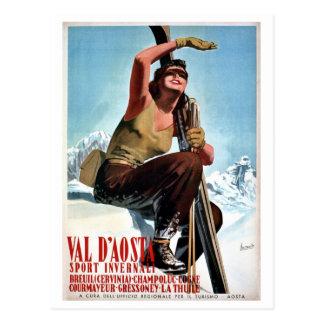 Vintage Italian winter sports ski travel ad Post Card