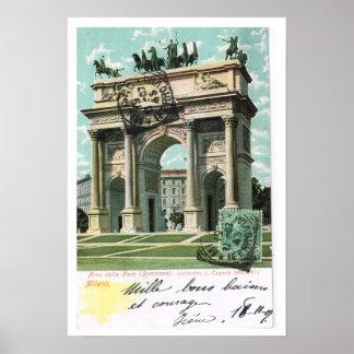 Vintage Italy Arco della Pace Milano Poster