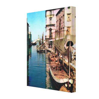 Vintage Italy Chioggia Vana Canal Stretched Canvas Print