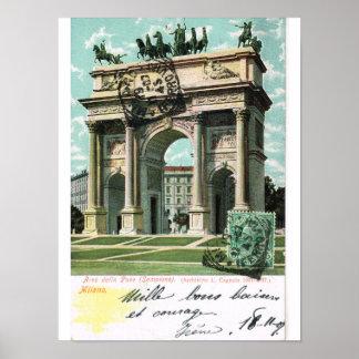 Vintage Italy, Milano, Arco della pace Poster