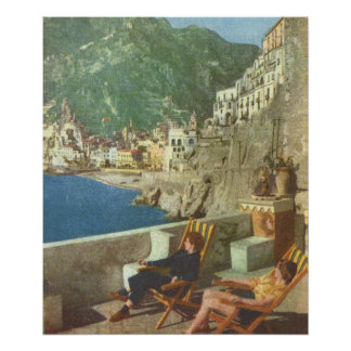 Vintage Italy, Relaxing on the Amalfi Coast, 1930s Poster