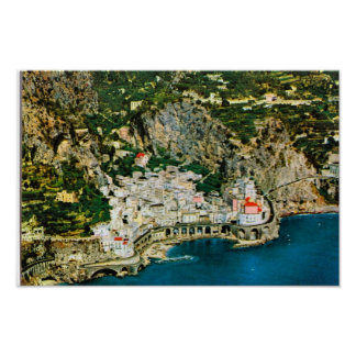 Vintage Italy, Rocky cliffs on the Amalfi coast, Poster