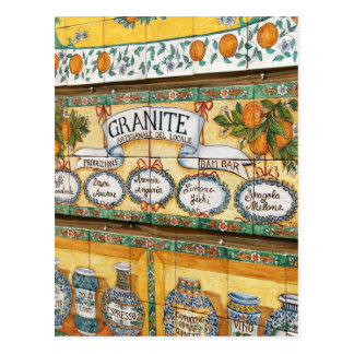 Vintage Italy, Sicily,  Tiled Shop Sign Postcard