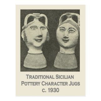 Vintage Italy, Sicily, Traditional Pottery Jugs Postcard
