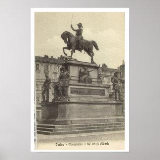 Vintage Italy, Torino, Carlo Alberto Poster