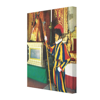 Vintage Italy, Vatican, Rome, Swiss guard Canvas Print