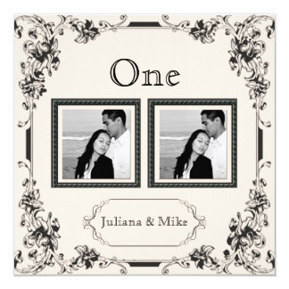 Vintage Ivory and Black Photo Table Number Personalized Invitations