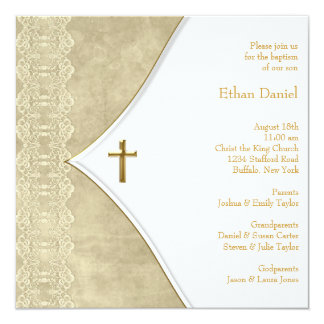 Vintage Ivory Gold Cross Baby Christening Card