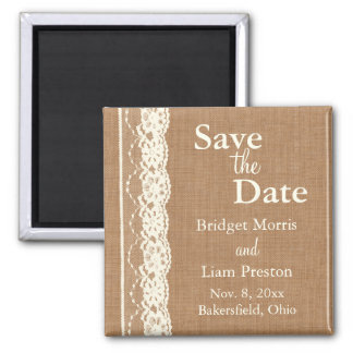 Vintage Ivory Lace & Med. Burlap Save the Date Magnet
