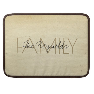 Vintage Ivory Paper Add Family Name MacBook Pro Sleeve